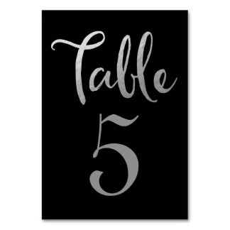 Silver Black Wedding Table Number Typography Cards