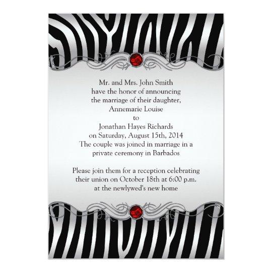 Silver Black Zebra Red Jewel Post Wedding Invitati