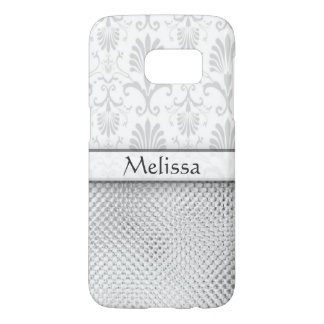 Silver Bling Effect Damask Personalized
