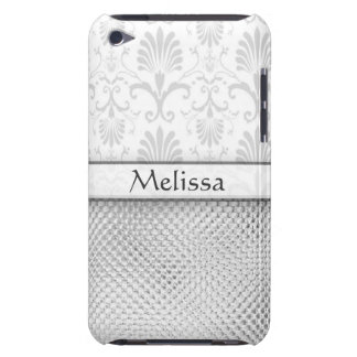 Silver Bling Effect Damask Personalized iPod Case-Mate Cases