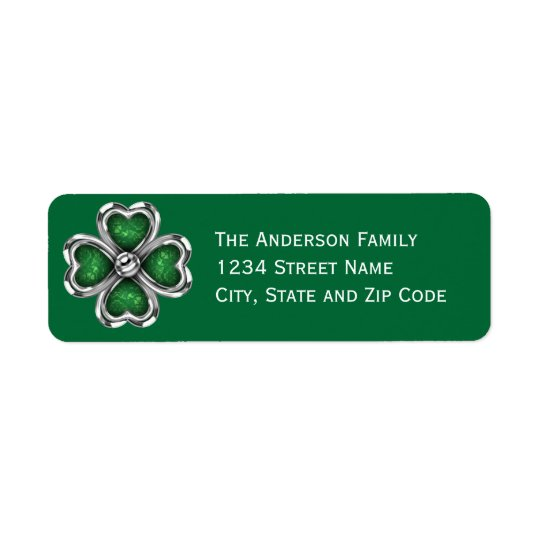 Silver Bling Shamrock Return Address Label
