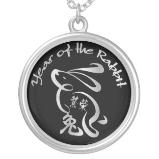 Silver / Blk Year of the Rabbit - Chinese New Year Silver Plated Necklace