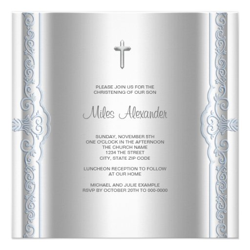 Silver Blue Baby Boy Christening Announcements