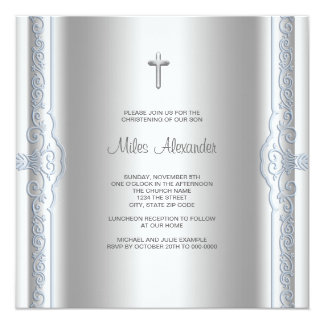 "Silver Blue Baby Boy Christening 5.25"" Square Invitation Card"
