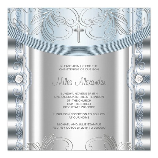 Silver Blue Baby Boy Christening Personalized Announcement