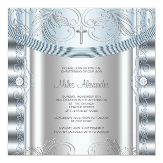 Silver Blue Baby Boy Christening 13 Cm X 13 Cm Square Invitation Card