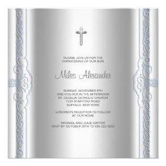 Silver Blue Baby Boy Christening Custom Announcements