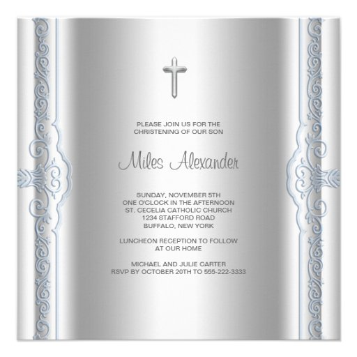 Silver Blue Baby Boy Christening Custom Announcements
