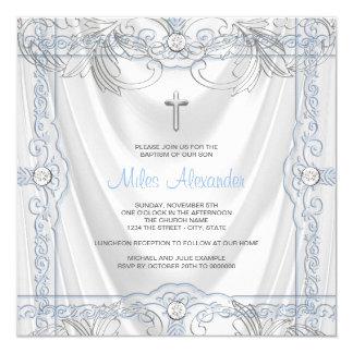 Silver Blue Baby Boy Christening White Satin 13 Cm X 13 Cm Square Invitation Card