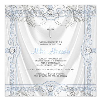 Silver Blue Baby Boy Christening White Satin 13 Cm X 13 Cm Square Invitation Card