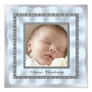 Silver Blue Baby Boy Photo Christening Baptism 13 Cm X 13 Cm Square Invitation Card