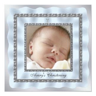 Silver Blue Baby Boy Photo Christening Baptism Card