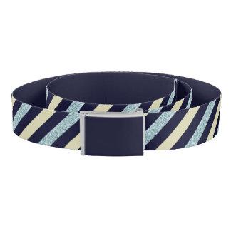 Silver Blue Beige Slant Striped Belt