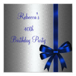 Silver Blue Bow 40th Elegant Birthday Party