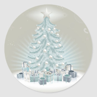 Silver blue Christmas tree, balls and gifts Round Sticker