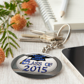 Silver & Blue Class Of 2015 Graduation Keychain