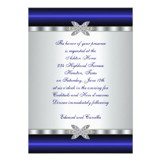 Royal Blue And Silver Heart Wedding Invitation From ...