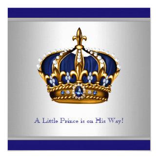 Silver Blue Crown Prince Baby Boy Shower 13 Cm X 13 Cm Square Invitation Card
