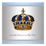 Silver Blue Crown Prince Baby Boy Shower Personalized Invite