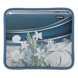 Silver Blue Daffodils Rickshaw Sleeve iPad Sleeve