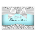 Silver Blue Glitter & Jewel Bow Quinceanera RSVP 9 Cm X 13 Cm Invitation Card