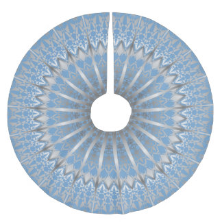 Silver Blue Mandala Brushed Polyester Tree Skirt