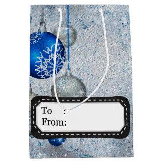 Silver blue ornaments medium gift bag