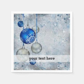 Silver blue ornaments paper napkin