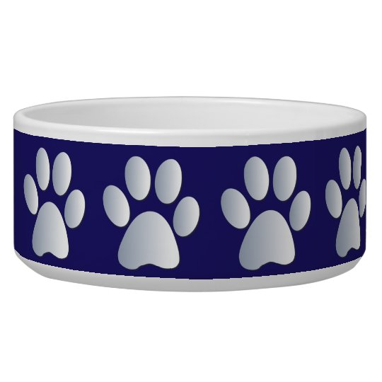 Silver blue pawprints beautiful pet dog bowl