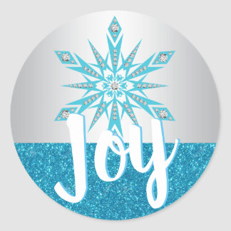Silver Blue Snowflake JOY Holiday Christmas Classic Round Sticker