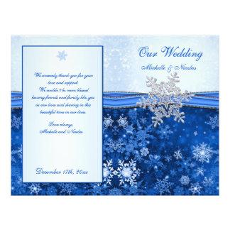 Silver blue snowflake on blue Wedding Program 21.5 Cm X 28 Cm Flyer