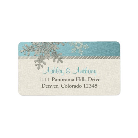Silver Blue Snowflake Winter Wedding Address Label