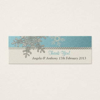 Silver Blue Snowflake Winter Wedding Favor Tags