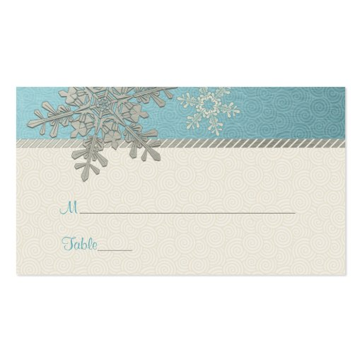 silver blue snowflake winter wedding place cards zazzle. Black Bedroom Furniture Sets. Home Design Ideas