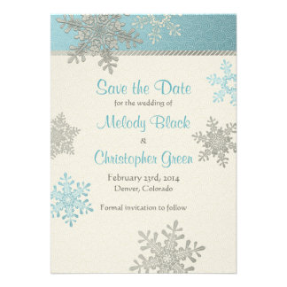 Silver Blue Snowflake Winter Wedding Save the Date Personalized Invitations