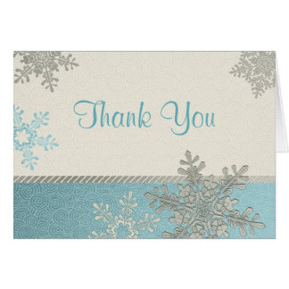 Silver Blue Snowflake Winter Wedding Thank You Cards