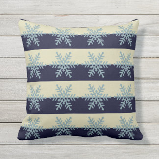 Silver Blue Snowflakes on Striped Holiday Pillow