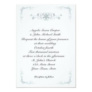 Silver Blue Snowflakes Winter Wedding Invitation