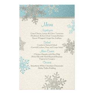 Silver Blue Snowflakes Winter Wedding Menu Card