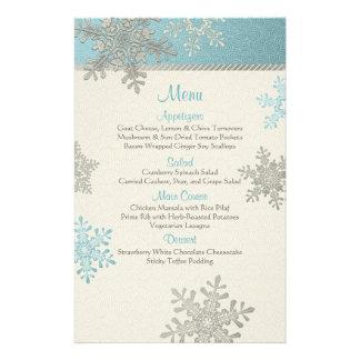 Silver Blue Snowflakes Winter Wedding Menu Card 14 Cm X 21.5 Cm Flyer