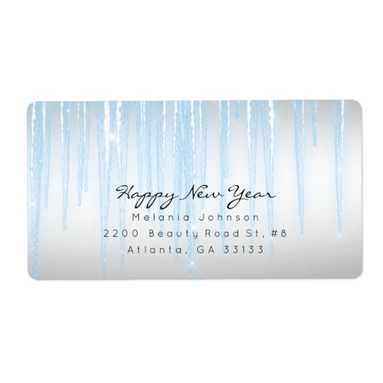 Silver Blue Sparkling Icicles Shipping Label