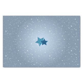 Silver Blue Stars on Blue Snow Pattern Tissue Tissue Paper