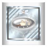 Silver Blue Stork Baby Boy Shower Custom Invite