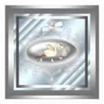 Silver Blue Stork Baby Boy Shower Invitations