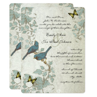 Silver Blue Yellow Butterflies & Birds Wedding Card