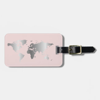 Silver blush World map elegant Luggage Tag