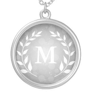 Silver Bokeh and Laurel Monogram Round Pendant Necklace