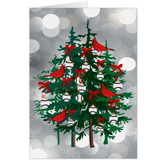 Silver Bokeh Baseball Christmas Tree with Red Bird Card