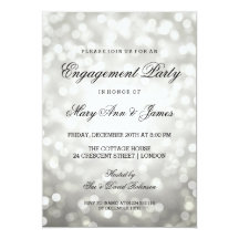 Silver Bokeh Lights Elegant Engagement Party 13 Cm X 18 Cm Invitation Card