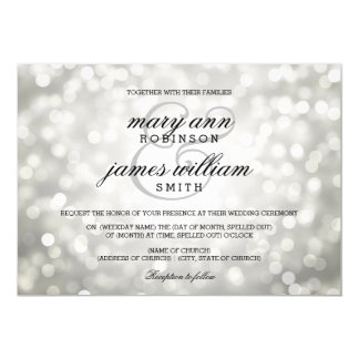 Silver Bokeh Lights Elegant Wedding Card